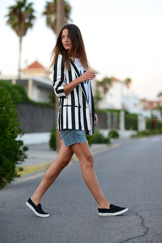 stripes, denim shorts, diesel, zara shoes